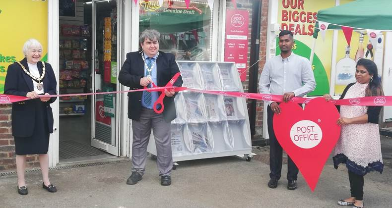 Deputy Mayor cuts ribbon at official opening of South Merstham Post Office, Reigate